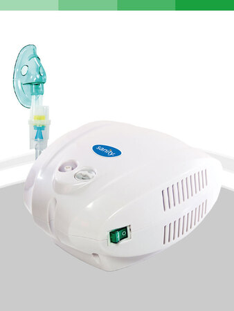 Sanity Inhalator Alergia STOP  Biały Pneumatyczny Inhalator dla całej rodziny Sanity, zasilanie Sieciowe, Praca ciągła. W zestawie znajduje się: Maska dla dorosłych, Maska dla dzieci, Nebulizator, Przewód powietrza, Ustnik